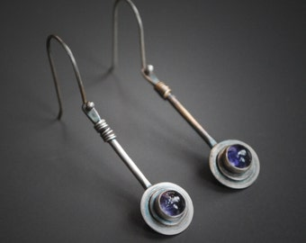 Iolite Drop Earrings - .925 Sterling Silver - Iolite