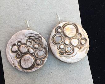 Metallic Brown Textured Clay Earrings