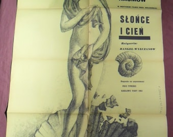 1962 Slonce i cien / Sun and Shadow - Original Polish Movie Poster - Rangel Vulchanov - Franciszek Starowieyski - Anna Prucnal