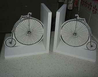 wooden penny farthing bookends