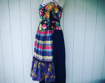 Upcycled Dress - Wearable Art - Gypsie - Gypsie Dress  - Shabby Chic - Handmade Dress - Boho Dress - Vintage Dress - Festival Dress