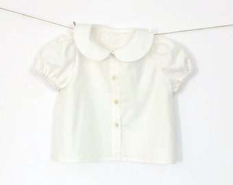 Baby Girl Blouse in Pearl – Sea Pearl Buttons – Back or Front Closure – Peter Pan Collar – Puff Sleeve – Short Sleeve