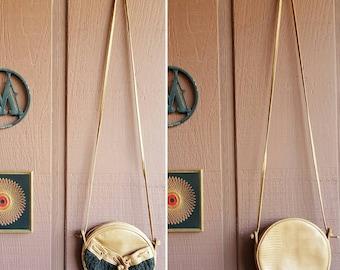 Vintage Valerie Barad 70's Brown Faux Leather & Woven Round Crossbody Bag ~ Purse ~ Shoulder Handbag / Boho / Hippie / Festival