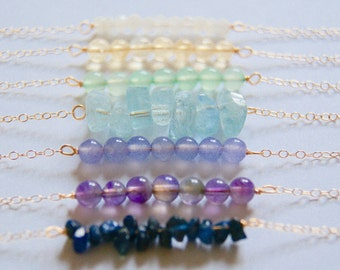 Gemstone Bar Necklace with Gold Filled Chain, Gemstone Layering Necklace