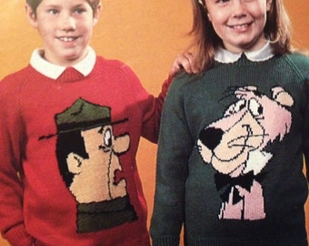 Childrens & Adult  Ranger and Snagglepuss Jumper From Yogi Bear  Knitting Pattern