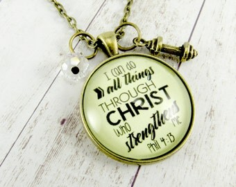 I Can Do All Things Bible Verse Necklace I Can Do Hard Things and All Things Through Christ, Faith Necklace Teen Gift