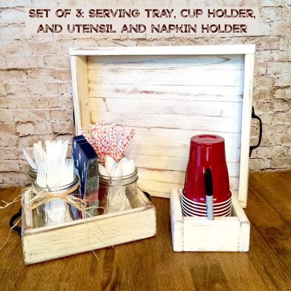 Distressed Farmhouse Style Serving Tray Utensil And Napkin