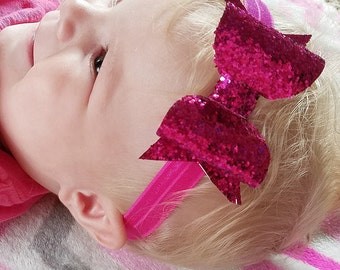 Large pink hair bow, pink glitter hair bow, glitter bow headbands, glitter bow headband, glitter hair bow, glitter hair bows, baby girl hair