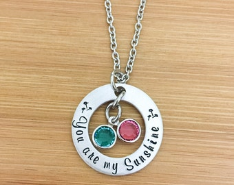 You are my Sunshine Necklace-Stamped Necklace-Daughter Necklace-Birthstone Jewelry-Mom Necklace-Personalized Jewelry- Gifts for Her under 25