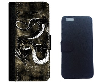 Black Dragon - Leather Wallet Cover for iPhone 6, 6+, 5/5s, 4/4s cover and Galaxy Note 5,4,3,2, Galaxy S7,S6,S5,S4 Cellphone Cover