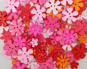 Flower shaped buttons, mixed colours