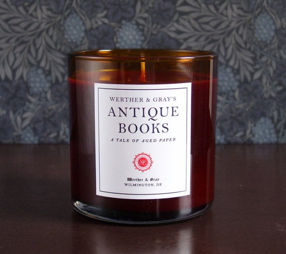 ANTIQUE BOOKS Candle 9oz, Old Books Scented Candle, Werther & Gray, Rust Color, Soy Blend, Book Lover's Gift, Vanilla Library Fragrance