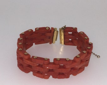 An Art-Deco Gold and Angel's Skin Coral Bracelet. Circa 1930's.