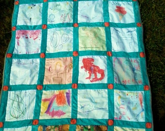 Children's artwork quilt - Unique teacher's gift