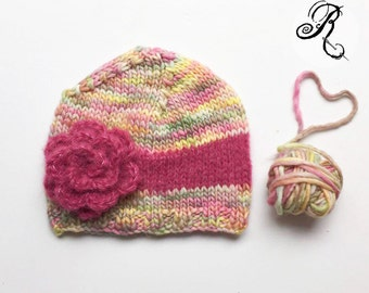 Baby hat with rose - newborn knitted hat - newborn romantic hat - rose hat