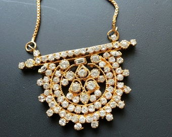 High Quality CZ Pendant Necklace, Gold Plated over silver base, Imitation Diamond, India, Diwali, Free Shipping