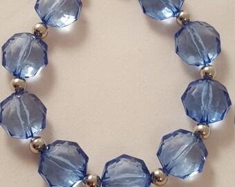 Blue Bracelet - Blue Acrylic Bracelet - Blue Jewelry - Women's Bracelet - Blue Bead Bracelet - Silver Bracelet - Blue Bead Jewelry - Blue