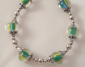 Marble Bracelet - Glass Bead Bracelet - Women's Bracelet- Silver Bracelet - Women's Silver Bracelet - Single Strand Bracelet - Women's