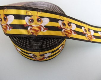"Grosgrain Smiley Bumble Bee Ribbon 1"" 25mm"