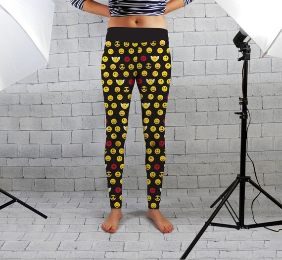 Funky Emoji Design Womens Spandex Leggings Gym Wear Yoga