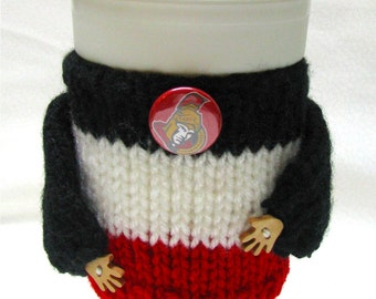 Coffee sweater, coffee cozy, whimsical, adorable hands,Team colours