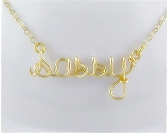 sassy Wire Word Pendant Necklace
