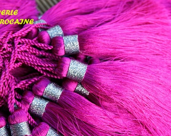 set of 2 POMPOM silk FUSHIA100% handicraft Moroccan silk tassel