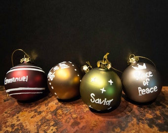 Set of Four 'Names of Jesus' Gold Top Sparkle Holiday Ball Ornaments