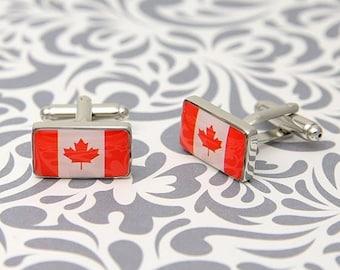 ON SALE Canada Flag Canadian Maple Leaf Cufflinks