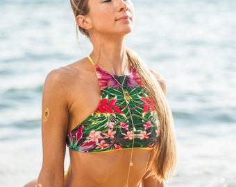 Tropical print bikini top, tropical swim suit, reversible bikini suit, reversible tropical bikini, reversible swim suit, tropical swim suit