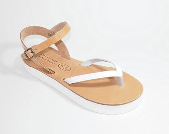 Greek Leather Sandals (38, 39 - Bicolor)