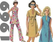 Mod Wrap Dress Mod Tunic and Pants SIMPLICITY 8278 sz 14 b 36 UNCUT Surplice Dress 1960s Mod Dress Summer Dress Plunging Neckline 60s Dress