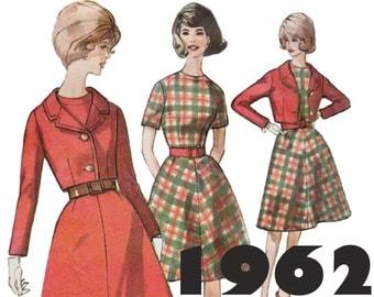 1960s Dress and Jacket SIMPLICITY 4584 sz 16 b 36 Crop Jacket Pattern Flared Dress Short Sleeve Dress Vintage Dress Retro Dress 60s Pattern