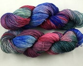 hand dyed sock yarn, fingering weight, superwash merino wool and nylon, colorway MEXICAN SAGE
