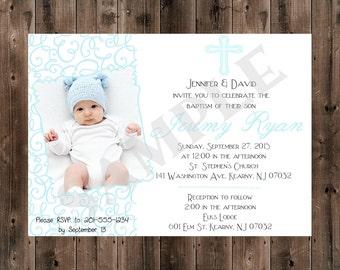 Printable - Digital - Baptism Invitation - Boy