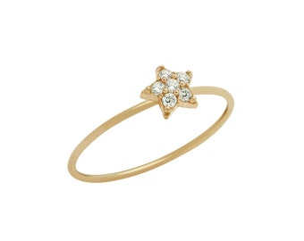 Star ring. Pave star ring. Sterling silver star ring. Stackable ring. Stacking ring. Silver midi ring. Knuckle ring. Gold star ring. Jewelry
