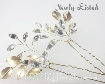 Golden Leaf Hair Pin for Wedding, with Crystals