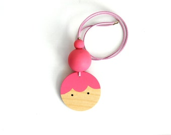 BABY Wooden Doll Face necklace PINK