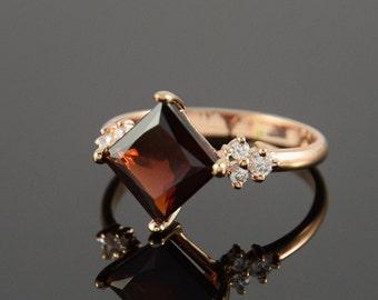 Garnet ring, Gemstone ring, Garnet ring gold, Red stone ring, Art deco ring, Geometric ring, January birthstone
