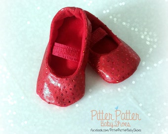 Red Baby Shoes - ruby slippers- Valentine Baby Shoes- Red Sequin Baby Shoes  - Wizard of Oz -Dorothy Shoes- red valentine shoes -  baby prop