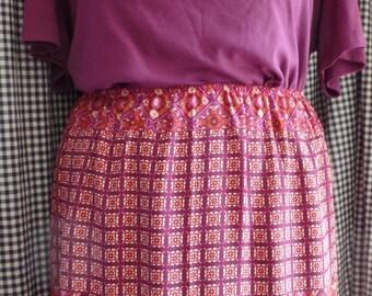 Fushia, Pink, Orange, Fully Lined Skirt - Plus Size 24