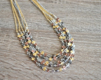 Gold/Silver/Gray Beaded Statement Necklace