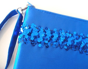 Blue Clutch, Sequin Clutch, Bridesmaid Gift, Brides Purse, Blue Wristlet, Wedding Purse, Blue Bridal, Evening Bag, Prom Purse, Girls Purse