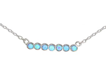 Blue Opal Bar Necklace - Dainty and Delicate Design in Sterling Silver 16'' - 18''