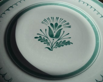 Set of Two GREEN THISTLE - Arabia Hand Painted Made in Finland Dinner Plates