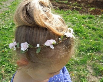 Flower Halo, Paper Rose Flower Crown, Pink Rose Flower Crown, Hair Wreath, Flower Girl Crown, Brides Hair Crown