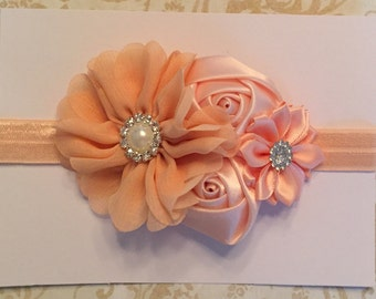 Peach 4-flower headband