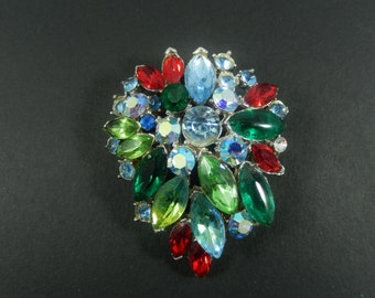 Gorgeous Vintage Multicolor and AB Rhinestone Floral Brooch Pin