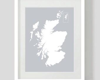 SCOTTISH MAP - Digital Print - Instant download - Home decor - Scotland - BLACK and white -grey- printable map of Scotland minimalist design
