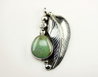Native American Indian Jewelry Handmade Sterling Silver Green Turquoise Pendant